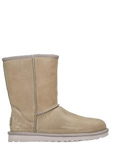 Ugg-Stivali Classic Short in shearling leat feat grey