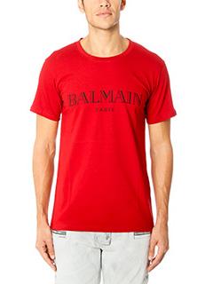 Balmain-T-Shirt in cotone rosso