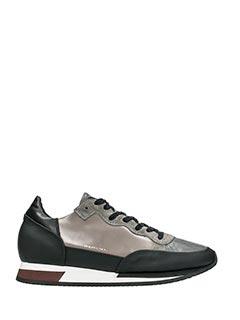 Philippe Model-Sneakers Bright in pelle nera grigia