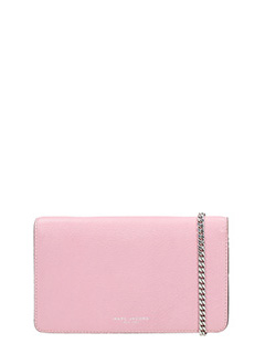 Marc Jacobs-Wallet on chain rose-pink leather clutch