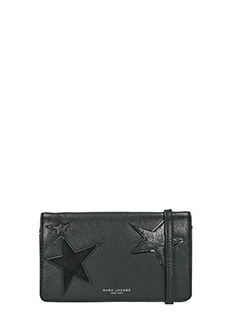 Marc Jacobs-Wallet strap black leather clutch