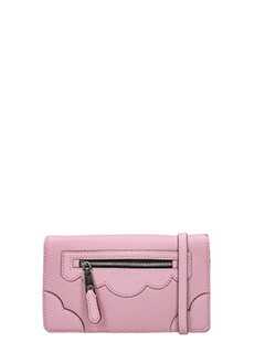 Marc Jacobs-Wallet strap rose-pink leather clutch