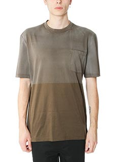 Lanvin-T-Shirt Washed Crew Neck in cotone marrone