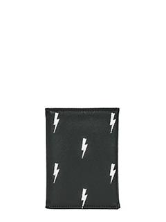 Neil Barrett-Credit Card Thunderbolt in pelle nera
