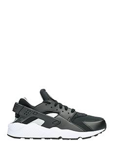 Nike-Sneakers Huarache Run in pelle  e  camoscio nero grigio