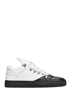 Filling Pieces-Sneakers Mountain Cut in pelle bianca e nera