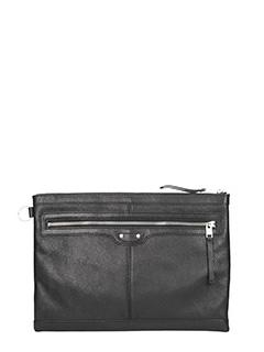Balenciaga-Clip L black leather clutch