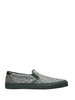 Kenzo-Sneakers Slip On Logo in pelle bianca nera