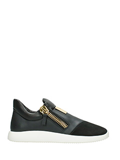 Giuseppe Zanotti-black suede and leather sneakers