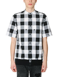 Helmut Lang-Camicia Combo Ss Shirt in cotone bianco nero