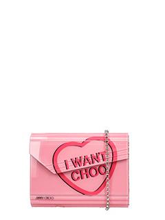 Jimmy Choo-Pochette Candy in acrilico rosa