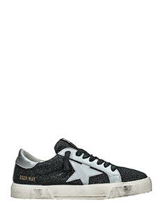 Golden Goose Deluxe Brand-Sneakers May in pelle e camoscio nero argento