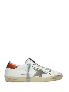 Golden Goose Deluxe Brand-Sneakers Superstar in pelle bianca rossa