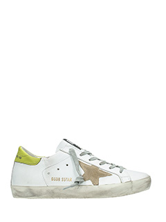 Golden Goose Deluxe Brand-Sneakers Superstar in pelle bianca  verde