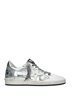 Golden Goose Deluxe Brand-Sneakers Ball Star in pelle argento