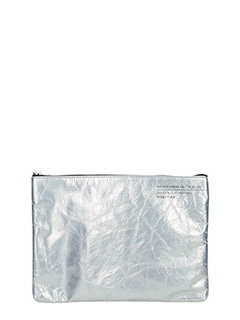 Golden Goose Deluxe Brand-Toast silver leather clutch
