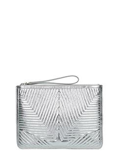Golden Goose Deluxe Brand-Juliette silver leather clutch