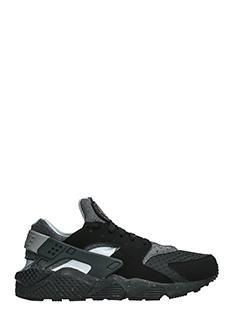 Nike-Sneakers Huarache Run in pelle e tessuto nero grigio