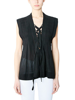 Isabel Marant Etoile-Top Kenny in lino nero