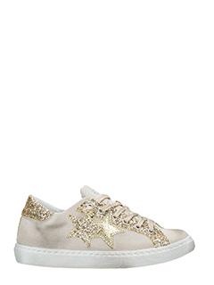 Two Star-Sneakers Low Star  in tessuto e glitter beige oro