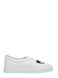 Chiara Ferragni-Sneakers Slip On Flirting glitter bianco