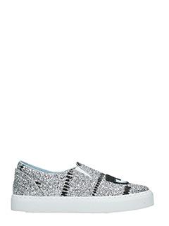 Chiara Ferragni-Sneakers Slip On Flirting glitter argento