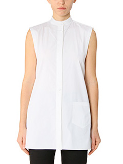 Helmut Lang-Camicia Apron Shirt in cotone bianco