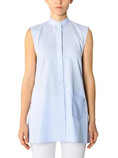 Helmut Lang-Camicia Apron Shirt in cotone celeste