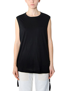 Helmut Lang-Top Side Tie Tank in cotone nero