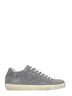 Leather Crown-Sneakers Low in suede grigio