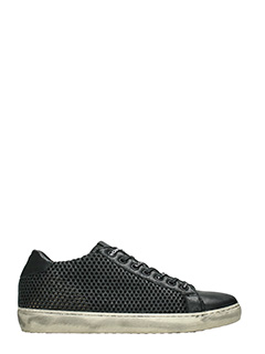 Leather Crown-Sneakers Low in pelle traforata nera