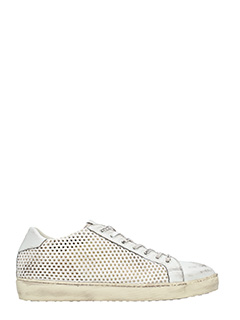 Leather Crown-Sneakers Low in pelle traforata bianca