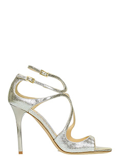 Jimmy Choo-Sandali Lance in pelle stampata champagne