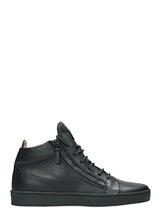 Giuseppe Zanotti-Black leather Keith zipped hi-tops sneakers