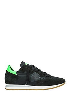 Philippe Model-Sneakers Tropez in camoscio nero verde