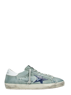 Golden Goose Deluxe Brand-Sneakers Superstar in camoscio verde blue