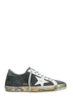 Golden Goose Deluxe Brand-Sneakers Superstar in tessuto e pelle nero grigio