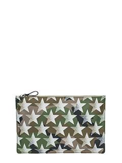 Valentino-Camustar green nylon clutch