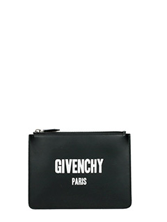 Givenchy-Pochette Medium Givenchy Paris Print in pelle nera