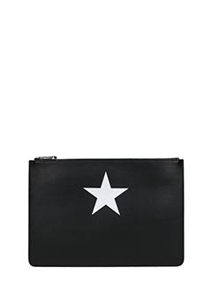 Givenchy-Pochette Antigona Pouch Large in pelle nera bianca