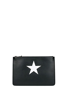 Givenchy-Pochette Antigona Pouch Media in pelle nera bianca