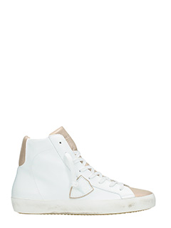Philippe Model-Sneakers Classic High in pelle bianca bronzo
