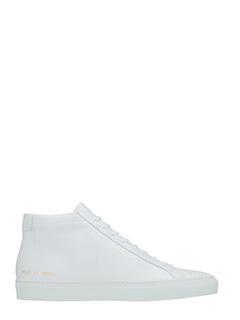 Common Projects-Achille mid white leather sneakers