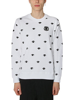 Kenzo-Felpa Eyes All Over in cotone bianco