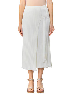 Helmut Lang-Gonna in cotone a coste bianco