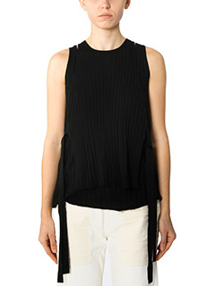 Helmut Lang-Top Layared Rib Tank in cotone a coste nero