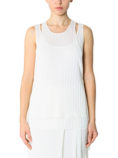 Helmut Lang-Top Layared Rib Tank in cotone a coste bianco