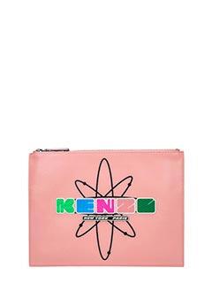 Kenzo-Kenzo nasa rose-pink leather clutch