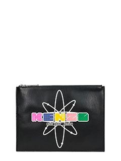 Kenzo-Kenzo Nasa black leather clutch
