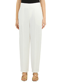 Chloé-Pantaloni in crèpe bianca